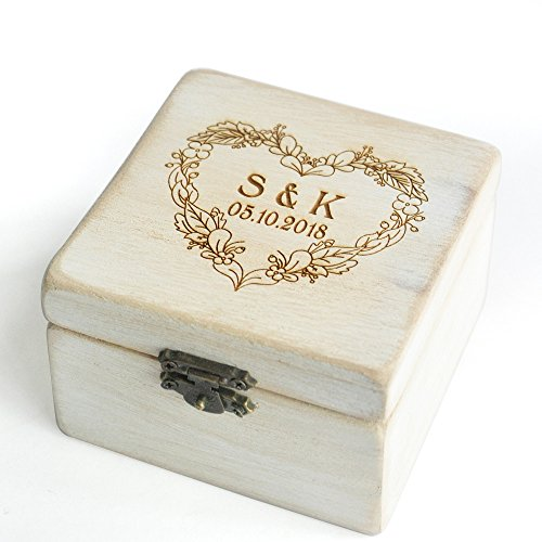 Custom Vintage Wedding Ring Box Shabby Chic Wood Rustic Wedding Rings Bearer Box by weddinghanger2015