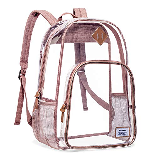 NiceEbag Clear Backpack Heavy Duty Clear Bookbag Large See Through Backpack for Women and Men Stadium Approved Transparent Bag for College Work Travel,Rose Gold