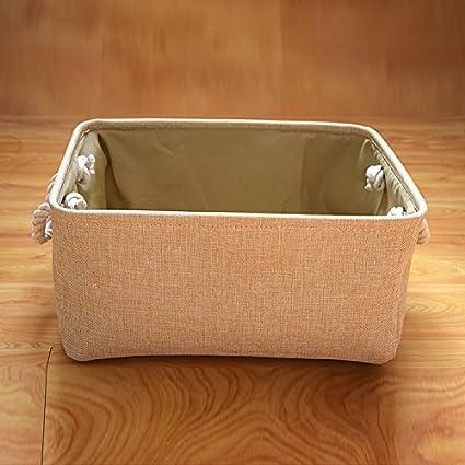 YAzNdom Cestas de Almacenamiento, pequeñas cestas de algodón y Lino Frescas, cestas de cestos, Cajas de Almacenamiento de Escritorio con cestas de Almacenamiento de Tela con Asas (Color : 1): Amazon.es: Equipaje