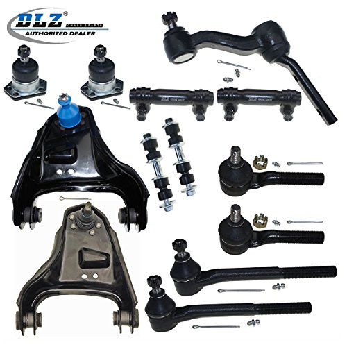 DLZ 13 Pcs Front Suspension Kit-Upper Control Arm Upper Ball Joint Inner Outer Tie Rod End Adjusting Sleeve Sway Bar Idler Arm Compatible with 1999-2001 Chevrolet Blazer 1998-2002 GMC Jimmy K620173 (Chevrolet Steering Blazer S10)