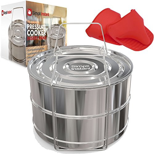 Stackable Steamer Insert Pans for Instant Pot Accessories SIMPLI INSTANT | 6/8 qt - Pot in Pot cooking for Pressure Cooker and Instant Pot - Comes With Lid, Sling & BONUS Pair of Silicone Mitts
