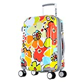 Olympia Luggage Blossom 21 Inch Expandable Hard Case Carry-On Bag, Aqua, One Size