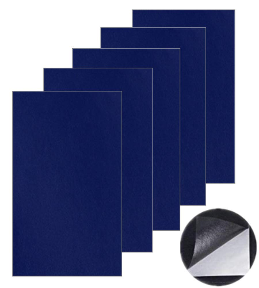 Patch de réparation pour cuir, Premier secours adhésif pour canapés sièges auto adhésif Sacs à main Cuir vestes, kit de réparation 5 pcs (Bleu marin)