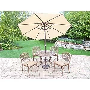 Oakland Living Corporation Dakota al aire libre 7piezas Comedor con 9ft Beige paraguas de bronce antiguo