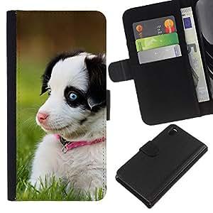 Alaskan Malamute Siberian Husky Puppy - la tarjeta de Crédito Slots PU Funda de cuero Monedero caso cubierta de piel Sony Xperia Z3 D6603