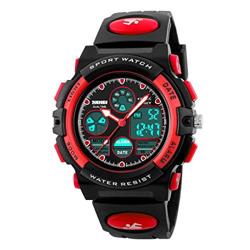 Kids Outdoor Sports Children's Waterproof Wrist Dress Watch With LED Digital Alarm Stopwatch Lightweight Silicone for Boy (Mens El Analog Sport Watchs)