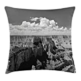 House Decor Throw Pillow Cushion Cover by Ambesonne, Nostalgic Photo of Ethnic Finding Grand Canyon Peaks in National Park with Cloud, Decorative Square Accent Pillow Case, 16 X 16 Inches, Grey
