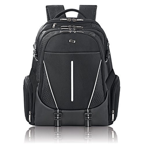 Rival Checkers (Solo Rival 17.3 Inch Laptop Backpack with Hardshell Side Pockets, Black)