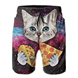Men's Swim Trunks Galaxy Taco Cat Pizza Quick Dry Board Shorts Bathing Suits Swimwear Volley Beach Trunks