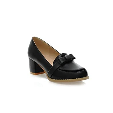f5f2b5c6aa1 AmoonyFashion Girls Closed Round Toe Kitten Heel Chunky Heels PU Soft  Material Solid Pumps with Bowknot