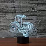 Tractor 3D Lamp Optical Illusion Night Light, Gawell 7 Color Changing Touch Table Desk Lamps with Acrylic Flat & ABS Base & USB Cable for Awesome Gift