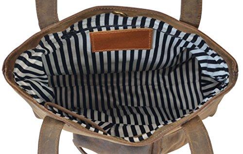 """Gusti Leder studio """"Abigail"""" Bolso de Mano de Cuero Bolso de Compras Festival Estilo Vintage Retro Mujer Hombre Unisex Piel de Búfalo Auténtica 2H45-26-54"""