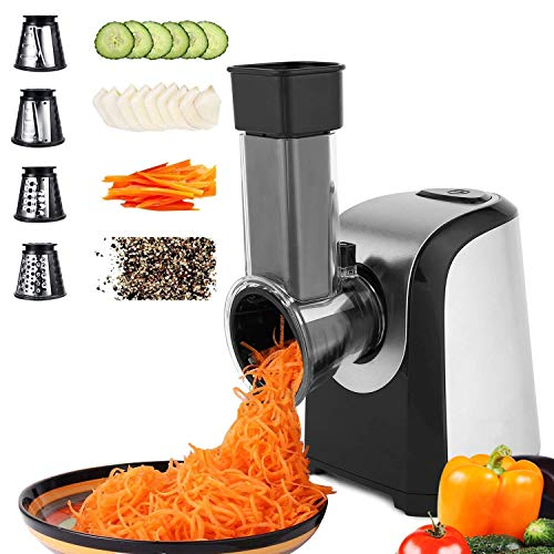 Professional Salad Maker, Electric Slicer Shredder/Graters for Fruits, Vegetables, and Cheeses, One-Touch Control and 4 Free Attachments