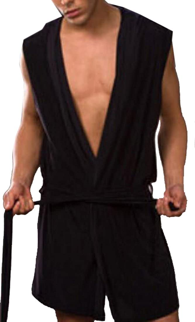 ARTFFEL-Men Summer Sleeveless Open Front Thin Sleepwear Hooded Robe Set