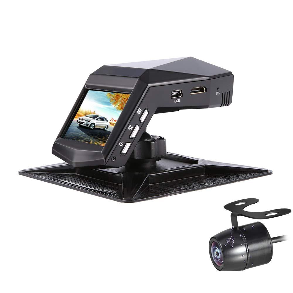 Dash Cam Sony Sensor Front and Rear Dual Lens Car Camera 140°Wide Angle Dashboard Driving Recorder with Infrared Night Vision, Parking Monitor, G-Sensor, Loop Recording, Back Camera(VGA). NO SD Card