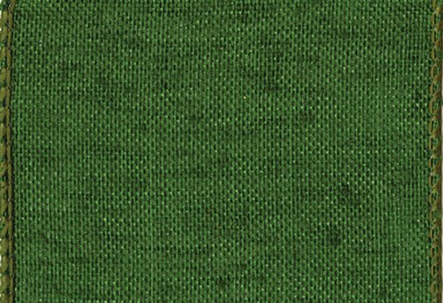 - Entertaining with Caspari  Green Linen Wide Wired Ribbon, 6-Yard