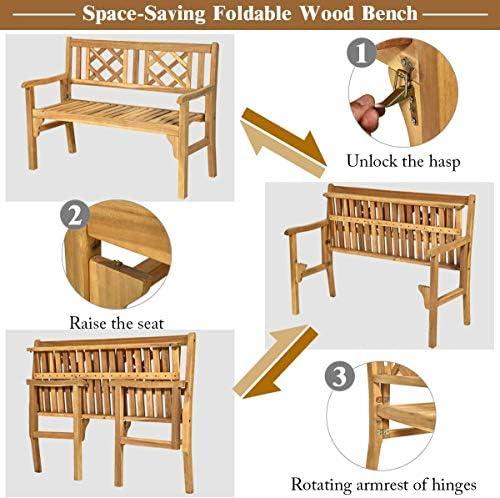 HAPPYGRILL Outdoor Patio Bench Acacia Wood Garden Bench