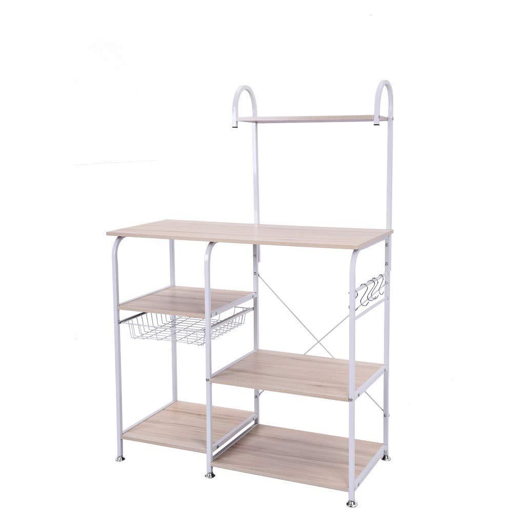 Shelf,Multifunctional Kitchen Rack Microwave Oven Floor Shelf Storage Storage Cupboard,Multipurpose Shelf,Tools & Home Improvement White