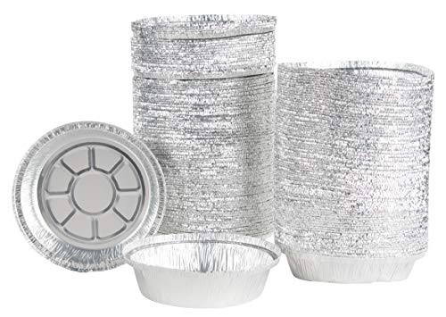 Aluminum Foil Pie Pans - 200-Piece Round Disposable Tin Pans for Baking, Roasting, Broiling Cooking, For Temperatures Up To 300-F, 7.5 x 1.5 Inches ()
