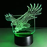 3D Lamp Eagle Animal Shape Boys best Bithday Gift Acrylic Table Night light Furniture Decorative Illusion colorful 7 color change household Desk Accessories