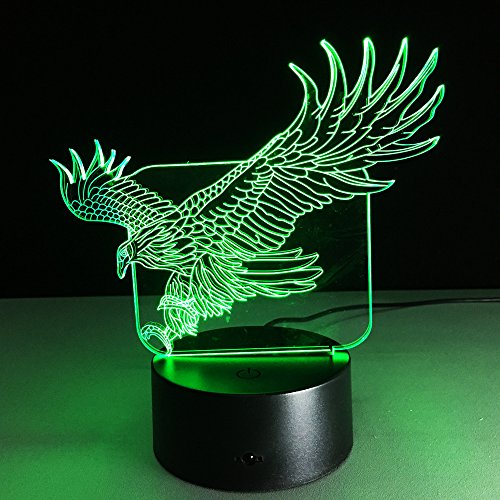 3D Lamp Eagle Animal Shape Boys best Bithday Gift Acrylic Table Night light Furniture Decorative Illusion colorful 7 color change household Desk (Eagle Shape)