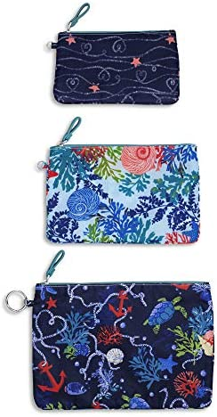 Vera Bradley Women s Set of 3 Pencil Pouch Toiletry Travel Bags Trio Shore Thing , Large