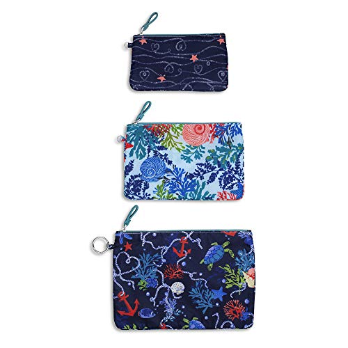 Vera Bradley Women's Set of 3 Pencil Pouch Toiletry Travel Bags Trio (Shore Thing), Large from Vera Bradley