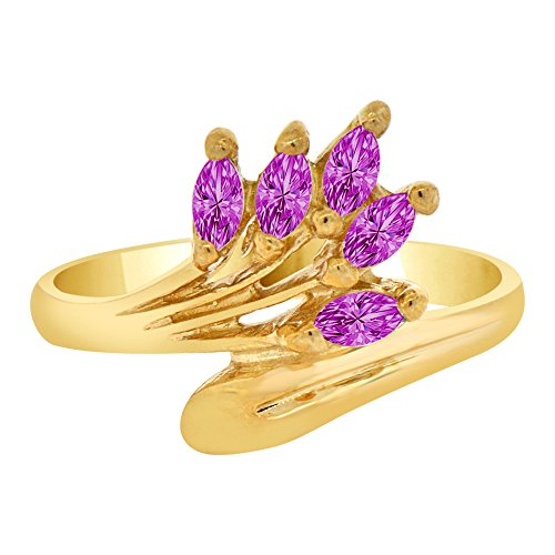 14k Yellow Gold Violet (14k Yellow Gold, Classic Marquise Cluster Ring Violet CZ Feb Synthetic Birthstones Size 5)