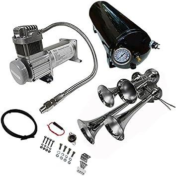 Amazon.com: Viking Horns - Universal Fit | Loud 149 dB | Train Air Horn Kit  | 1.5 Gallon Tank | 150 PSI Heavy Duty Compressor | V101C-3/4008: AutomotiveAmazon.com