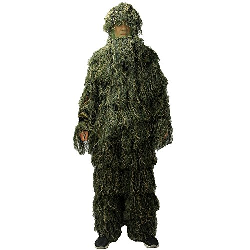 Ghillie Suit, LOOGU Woodland Camo Suit Outdoor Military Hunting and Shooting Accessories Tactical Camouflage Clothing Blind for Airsoft, Wildlife Photography Halloween or Party