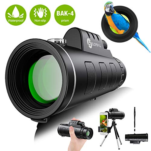 Lowest Price! Monocular Telescope – 12X50 High Definition FMC BAK4 HD Monocular 【Day & Low Night Vision】 with Smartphone Holder & Tripod IPX7 Waterproof & Eco-Friendly Materials for Bird Watching, Camping