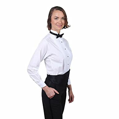 f96ccbaf286dd8 Women's White Tuxedo Shirt with Wing Tip Collar (2) and Black Bow Tie Set