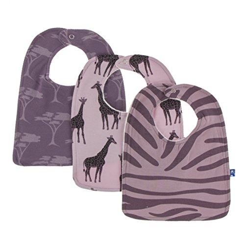 Kickee Pants Little Girls Bib Set (Set of 3) - Sweet Pea Giraffe, Fig Acacia & Elderberry Zebra Print, One Size