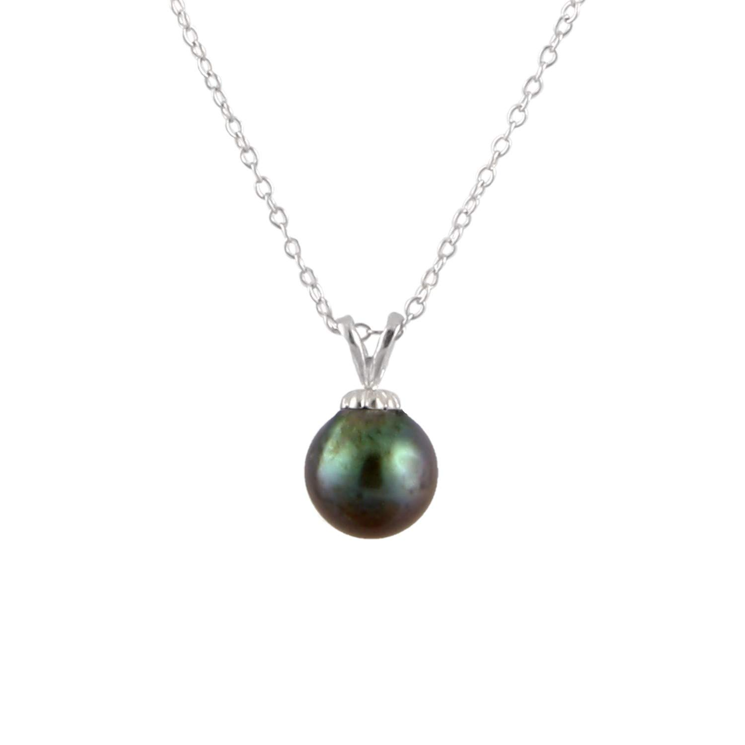 Sterling Silver Handpicked A Quality 8.5-9mm Genuine Akoya Saltwater Pearl Solitaire Pendant Necklace for Women 17