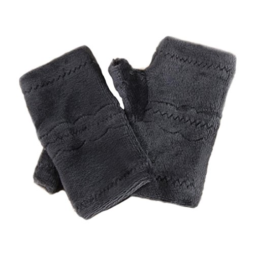 Winter Autumn Thick Warm Gloves Keyboard Leak Finger Gloves Gray - 3