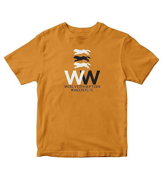 f2418550e51 TJSPORTS Wolverhampton Wanderers FC Badge 1 Gold T Shirt Football Soccer  England (Small)