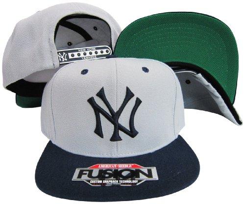 American Needle New York Yankees Grey/Navy Two Tone Fusion Snap Adjustable Snapback Hat/Cap (Yankees American Needle)