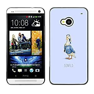 CASECO - HTC One M7 - Funny Duck Donald - Delgado Negro Plástico caso cubierta Shell Armor Funda Case Cover - Pato divertido Donald