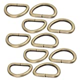 uxcell 32mm Inner Width Zinc Alloy Thickening Non Welded D Ring Bronze Tone 10pcs