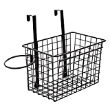 Over the Cabinet Door Black Wire Storage Basket with Hair Dryer Holder,Storage Bin for Toy Lotion Shampoo Magazine Toiletry Towel Kitchen,Space Saving Solution