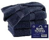 HomeLabels Premium 100% Cotton Grey Bath Towel Set (4 Pack, 27 x 54 Inch) Lightweight High Absorbency Multipurpose Quick Drying Pool Gym Grey Towel Set