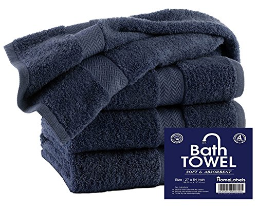 4 Pack Bath Set - HomeLabels Premium 100% Cotton Grey Bath Towel Set (4 Pack, 27 x 54 Inch) Lightweight High Absorbency Multipurpose Quick Drying Pool Gym Grey Towel Set