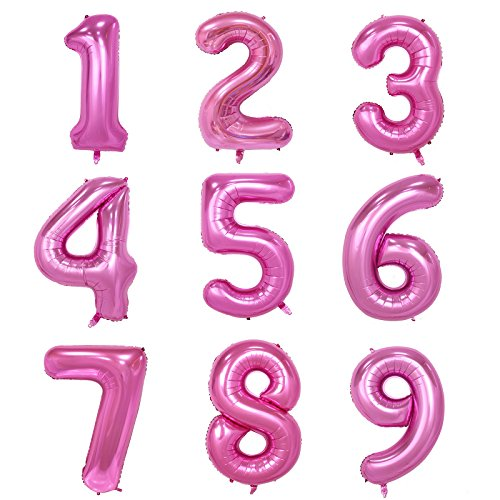 40 Inch Pink Digital Helium Foil Birthday Party Balloons Number 2