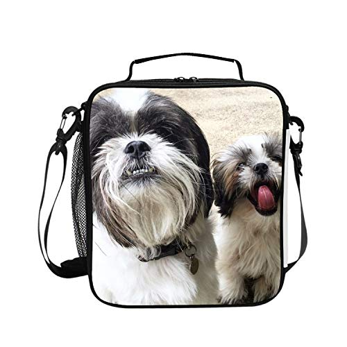 Reusable Lunch Tote Bags Waterproof Insulated Lunch Bag Lunch Box Tote Bag Handbag Black White Shih Tzu