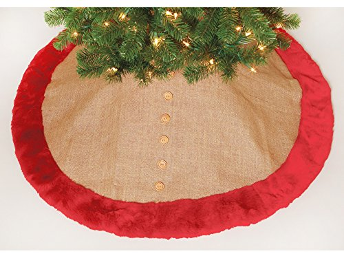 Burlap Plush Burgundy Tree Skirt 48