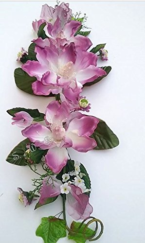 26'' Sheer Crinkle Magnolia Swag Silk Wedding Flowers Arch Chuppah Centerpieces (Cream/Purple) by Silkflowers.com