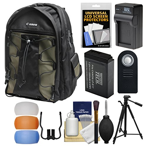 Canon 200EG Deluxe Digital SLR Camera Backpack Case with LP-E17 Battery & Charger + Tripod + Remote Kit for Rebel T6s, T6i, T7i, EOS 77D by Canon