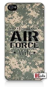 Proud Air Force USA Wife Desert Digital Camo iPhone 5C Quality Hard Snap On Case for iPhone 5C - AT&T Sprint Verizon - White Case