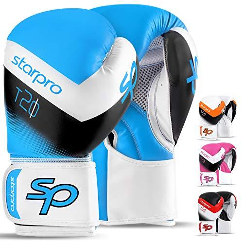 Boxing Gloves for Men & Women Training Sparring Kickboxing UFC MMA Muay Thai Pro Punching Fight Heavy Bag Mitts (Solar Blue//White, 14oz) (Pro Punching Bag)
