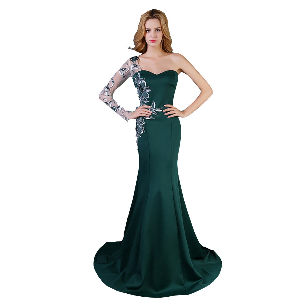 Dark Green Ai Maria Women's Mermaid Applique Lace Sweetheart Mopping Party Dress